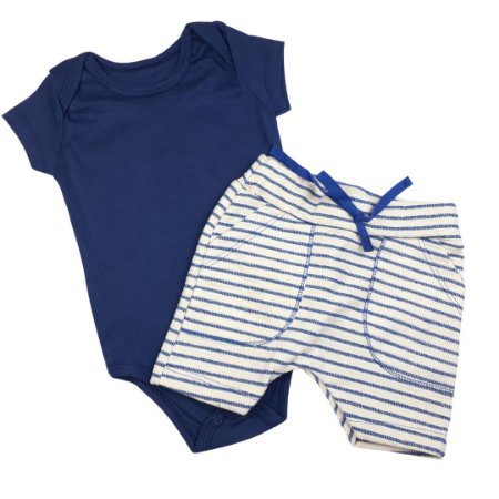 Conjunto Roupa de Bebê Calor Body Manga Curta Bermuda Saruel Azul Escuro