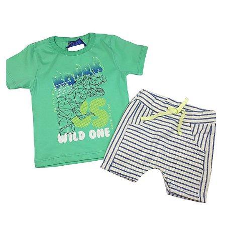 Conjunto Roupa de Bebê Infantil Calor Camiseta Bermuda Verde Dino