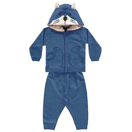 Conjunto de Moletom Touca Urso – Azul