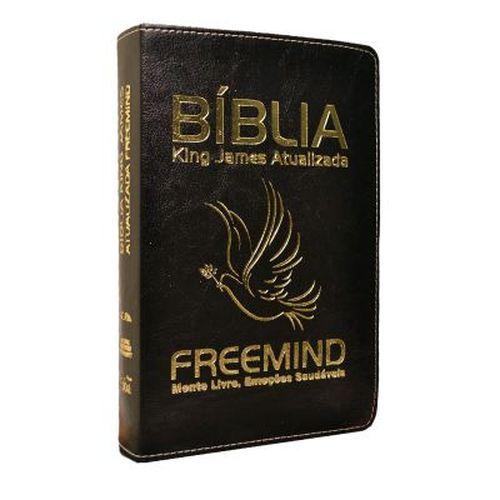 Bíblia Freemind Capa Luxo Preta Escrita Dourada