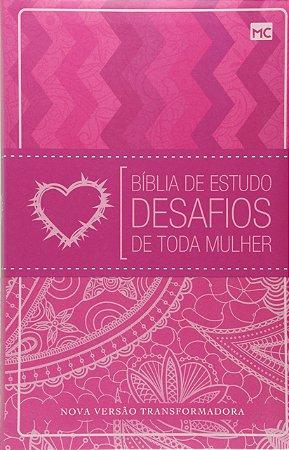 Bíblia de Estudo Desafio de toda mulher  Luxo Rosa 