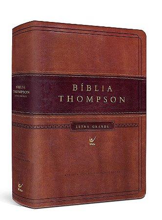 Bíblia Thompson Letra Grande capa luxo marrom claro e escuro