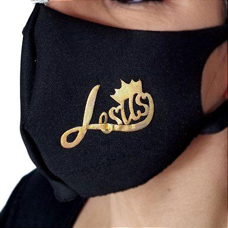 Máscara de proteção Higiênica reutilizável  Jesus coroa dourado 