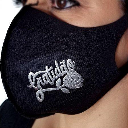 Máscara de proteção Higiênica reutilizável |Gratidão flor prata|