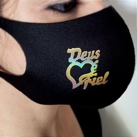 Máscara de proteção Higiênica reutilizável |Deus é fiel Dourado|