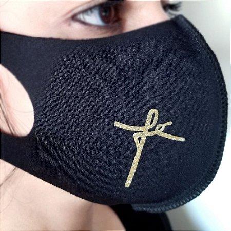 Máscara de proteção Higiênica reutilizável  fé dourado cursiva 