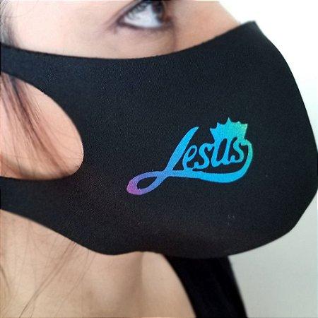 Máscara de proteção Higiênica reutilizável  Jesus Azul Coroa 