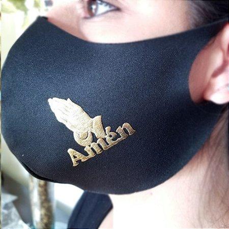 Máscara de proteção Higiênica reutilizável  Amém Dourado 