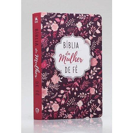 Bíblia De Estudo Da Mulher de Fé   NVI   Letra Normal   Soft Touch   Florida Rosa 