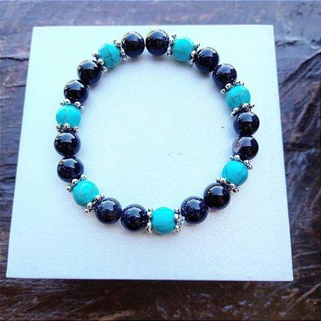 Pulseira Pedra Estrela Azul com Pedra Howlita  Azul Turquesa 8 mm