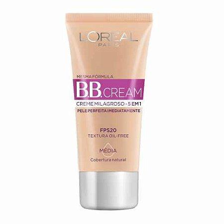 Base Facial BB Cream L'oreal 5 em 1 Média FPS20 com 30ml