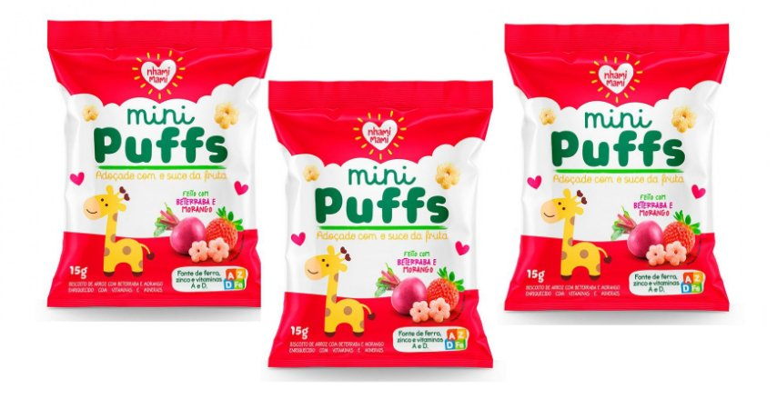 Leve mais por Menos ( Kit 3 Unidades) - Snacks Mini Puffs Snack Beterraba e Morango 15g