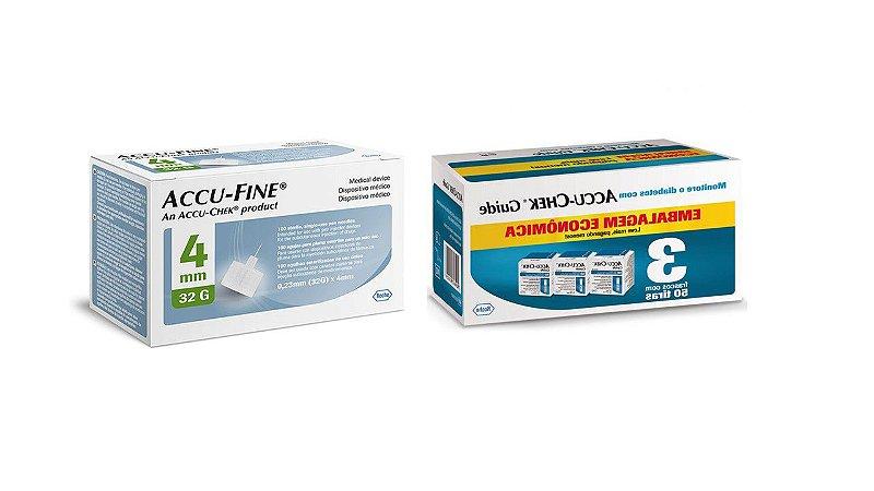 Leve Mais Por Menos - Kit Tiras de Glicemia Accu-Chek Guide Economy 150 Unidades + Agulha para Insulina Accu-fine 4mm 100 Unidades