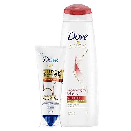 Kit Dove Shampoo Regeneração Extrema 400ml + Super Condicionador Fator de Nutrição 50 170ml