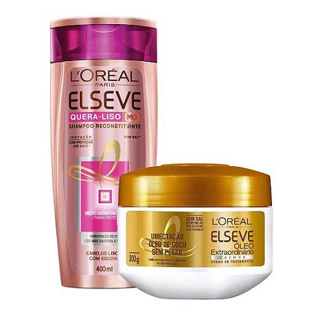 Kit Elseve Shampoo Quera-liso Reconstituinte 400ml + Máscara de Tratamento Óleo Extraordinário Cachos 300g