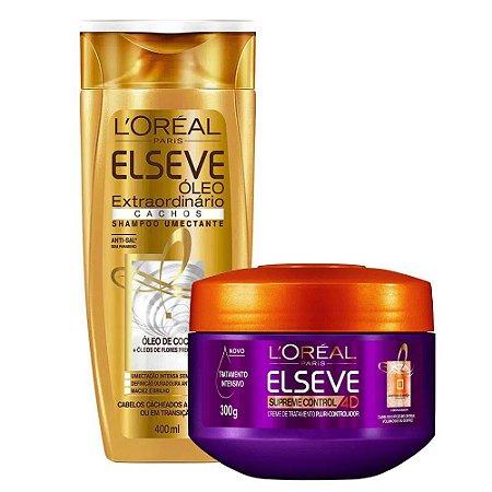 Kit Elseve Shampoo Óleo Extraordinário Cachos 400ml + Creme de Tratamento Supreme Control 4D 300g