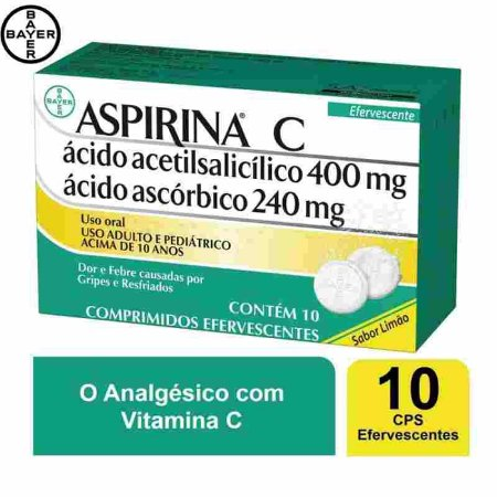 Aspirina C Efervescente Limão 10 Comprimidos