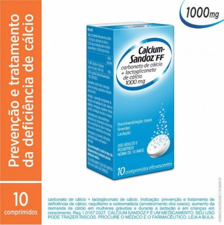 Calcium Sandoz FF 1000mg 10 Compridos Efervecentes