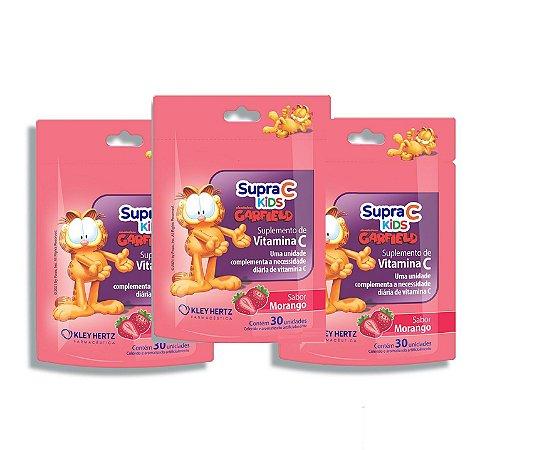 Leve 3, Pague 2 - Supra C Kids Garfield Sabor Morango 30 Unidades
