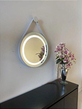 Espelho de 50cm com Alça, Iluminação Integrada e Botão Touch  - Branco