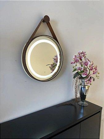 Espelho de 50cm com Alça, Iluminação Integrada e Botão Touch  - Marrom