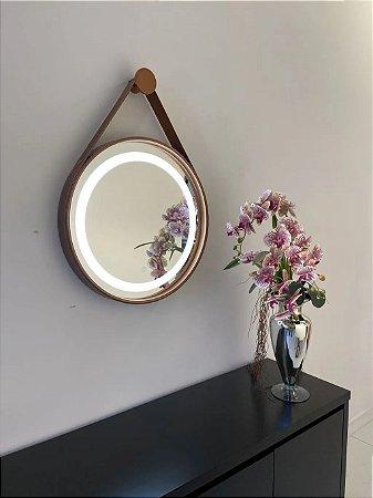 Espelho de 60cm com Alça, Iluminação Integrada e Botão Touch  - Cobre
