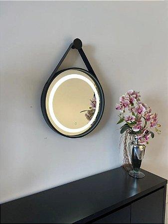 Espelho de 60cm com Alça, Iluminação Integrada e Botão Touch  - Preto