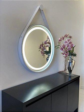 Espelho de 80cm com Alça, Iluminação Integrada e Botão Touch  - Branco