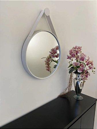 Espelho decorativo de 50cm com Alça - Branco