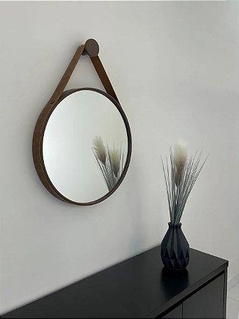 Espelho decorativo de 50cm com Alça - Marrom