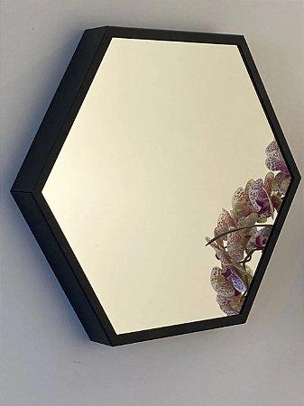 Espelho decorativo hexagonal de 35cm - Preto