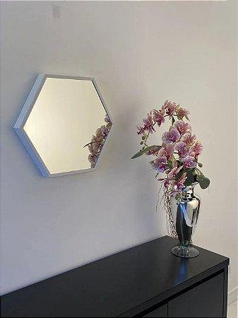 Espelho decorativo hexagonal de 60cm - Branco