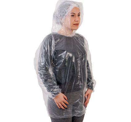 Blusa Bata PE Transparente com elástico com capuz PCT10 Prevemax CA 30354