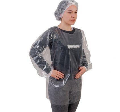 Blusa Bata PE Transparente com elástico sem capuz PCT10 Prevemax CA 30354