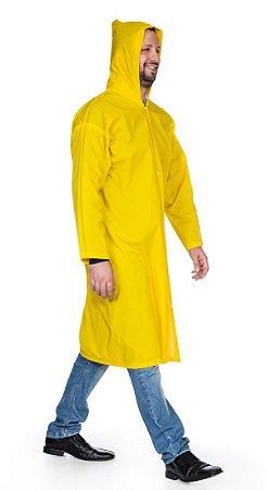 Capa de Chuva PVC com botão capuz forro/algodão Nikokit (G) CA 31377 - Amarelo