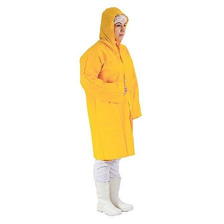 Capa de Chuva PVC com botão capuz forro/poliéster Prevemax - Amarelo