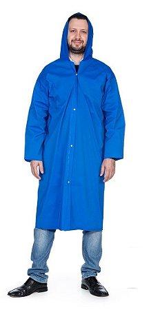 Capa de Chuva PVC com botão capuz forro/poliéster Nikokit (GG) 120cm CA 31377 - azul