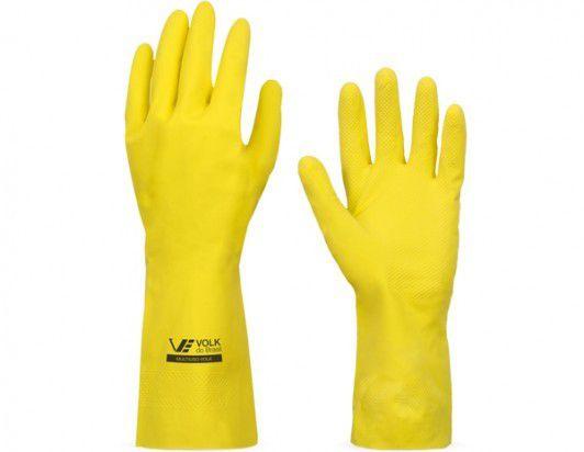 Luva reuso Latex Amarelo forro/algodão  Volk CA 10695