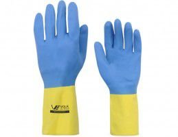 Luva reuso Neoprene Amarelo & Azul Slim Volk CA 16779