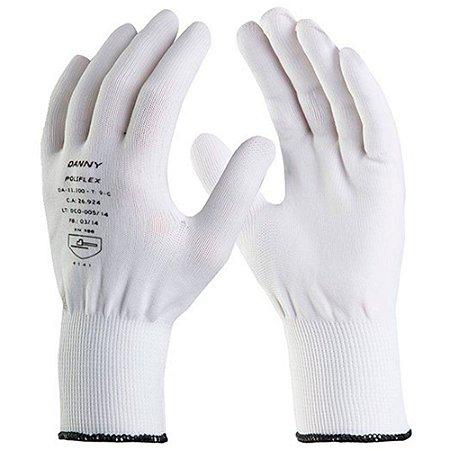 Luva Tátil Nylon Branco Poliflex Danny (M) CA 26924