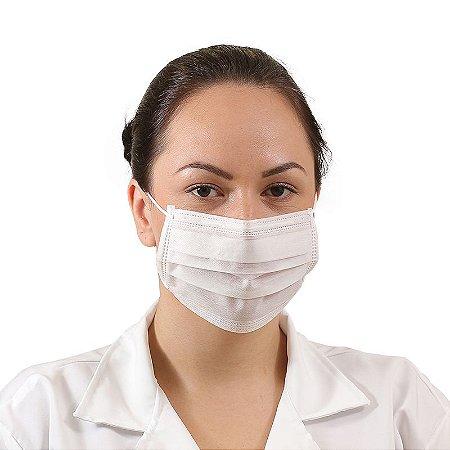 Máscara tripla TNT Branco com elástico e clip nasal PCT50 Prevemax