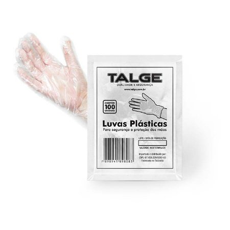 Luva descartável Plastica Transparente PCT100 Talge