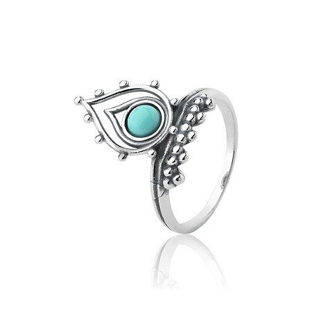 Anel em prata 925 maciça, envelhecida com pedra howlita.