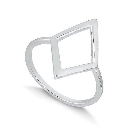Anel em prata forma geometrica losangulo
