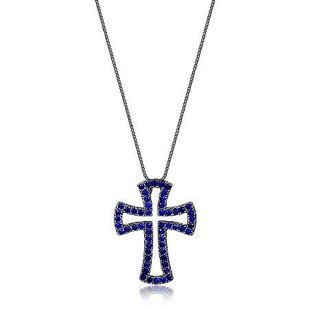 Colar Crucifixo  com safiras