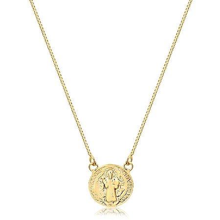 Colar medalhinha de São Bento Dourada