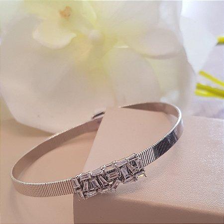 Bracelete retangulo navetes de zircônias