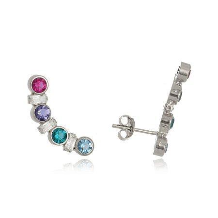 Brinco ear cuff com cristais coloridos