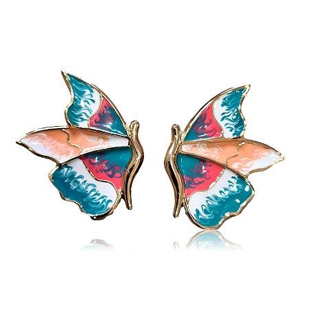 Brinco borboleta pintada à mão