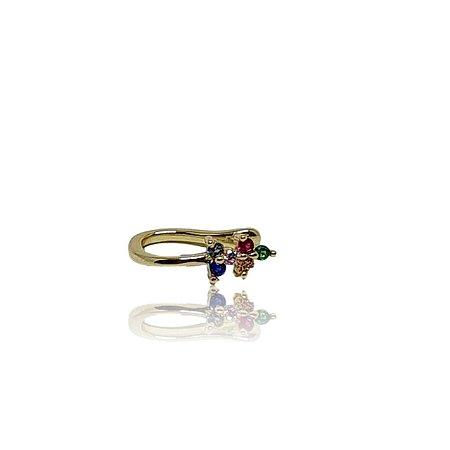 Brinco piercing fake/falso dourado com delicadas flores